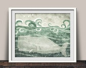 Vintage Green Whale Art Print for Boy's Room or Coastal Style Home Color Options