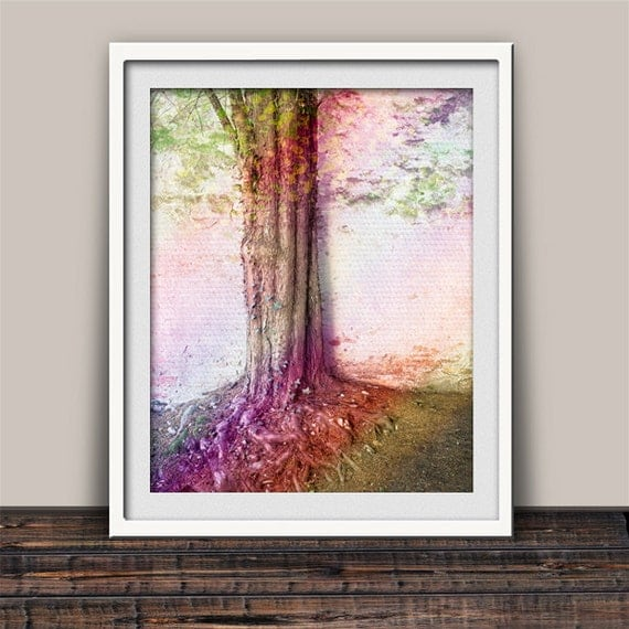 Tree Root Wall Decor : Rainbow tree roots art print wall decor for family by