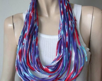 womens mens red white and purple tiedye shredded upcycled tshirt scarf, jersey scarf, jersey necklace, recycled tshirt necklace. 4th of July