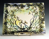 Porcelain ceramic serving dishes with nature wild flowers hand painted  for Fathers Day and weddings or coporate gifts