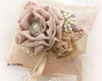 Ring Bearer Pillow, Blush, Ivory, Gold, Champagne, Beige, Tan, Wedding, Bridal, Lace, Brooch, Crystals, Pearls, Vintage Style