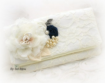 Clutch, Ivory, Navy Blue, Handbag, Purse, Wedding, Bridal, Maid of Honor, Lace, Pearls, Crystals, Vintage Wedding, Elegant, Gatsby