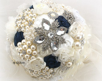 Brooch Bouquet, Navy Blue, Ivory, Cream, White, Silver, Vintage Wedding, Wedding Bouquet, Elegant, Lace Bouquet, Pearls, Crystals
