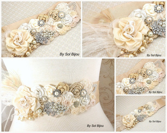 Sash, Beige, Gold, Tan, Ivory, Cream, Champagne, Elegant Wedding, Vintage Style, Gatsby Wedding, Floral, Lace, Brooch, Feathers, Pearls