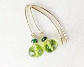 Green Peridot with Green Tourmaline Earrings - Peridot Beads