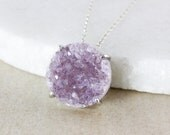 50% OFF SALE - Large Multi-Color Druzy Statement Necklace - Choose Your Druzy - 925 Sterling Silver