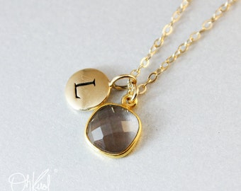 Brown Smokey Quartz Necklace - 14K GF - Initial Necklace, Gifts from 20