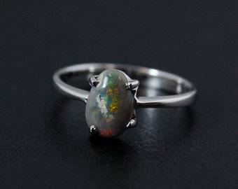 50% OFF SALE - Earthy Opal Ring - Green Flecks - October Birthstone