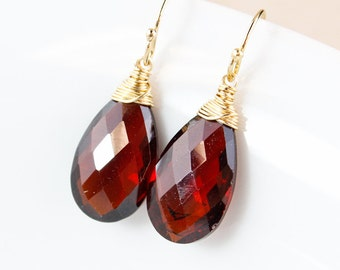 Teardrop Garnet Quartz Earrings - 14k Gold Fill