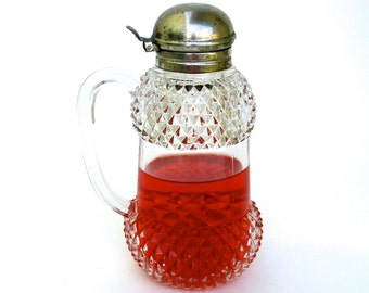 early vintage pressed glass and silver jug ...  pitcher  ...   glass creamer  ...   syrup pourer