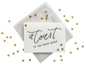 Confetti Happy Couple Wedding Toast letterpress card