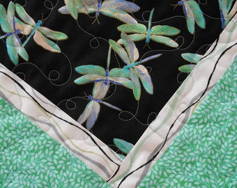 Dragonfly Table Topper, Quilted Square Table Topper, Blue and Green, Turquoise and Purple, Candle Mat