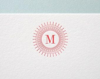 Custom Letterpress Stationery - Sunburst Initial flat note set