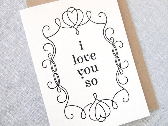I Love You So Letterpress Card - Anniversary, Valentines Day, Love