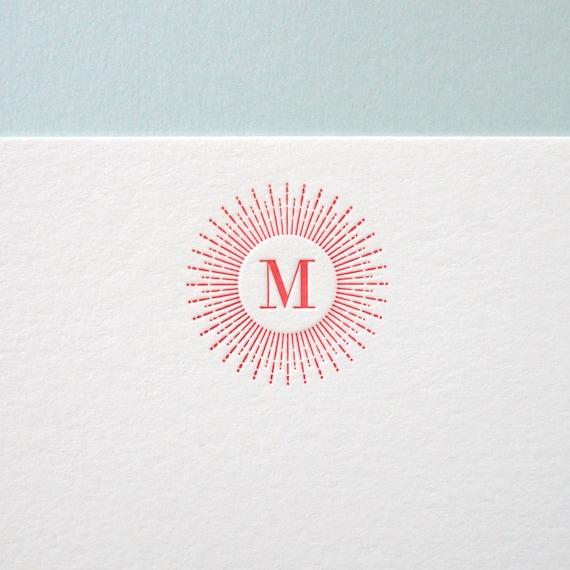 Custom Letterpress Stationery - Starburst Initial flat note set