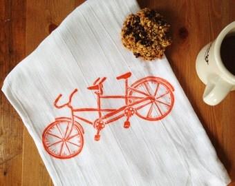 wood block print tandem bicycle tea towel by color.joy