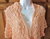Crocheted  Peach Shawl, Wrap