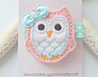 Coral Pink Owl Hair Clip, Coral Pink and Aqua Owl Hair Clip, Girls Owl Hair Clip, Aqua and Coral PinkOwl Hair Clip, Coral Owl Hair Clip