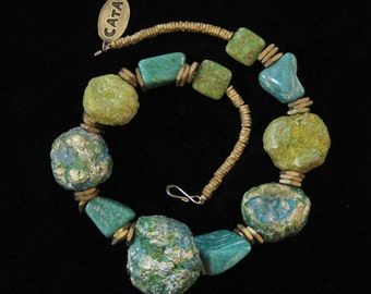 Chunky Faux Turquoise Necklace with Reclaimed Hardware