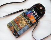 Iphone 6 Case Smart Phone Gadget Case Detachable Neck Strap Quilted Patchwork Print Earth Tones