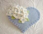 Felt Flower Brooch Heart Beaded Felted wool Pin