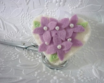 Felt Flower Fob Scissor Charm Purple Beaded Wool Felted Lavender