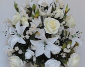 White & Ivory Roses, Tiger Lily Silk Flower Floral Arrangement / Centerpiece