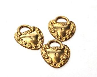 3 Vintage 1970s Brass Key to my Heart Pendants 60s 70s Craft Jewelry Supply Love NOS