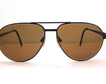 RARE Serengeti  5497c Drivers Sunglasses // Aviator Style // Black with Tortoise trim // Corning Optics // Serengeti