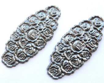 2 Large Vintage Rose Stampings // 1970s Finding // Rose Garden // Victorian Style