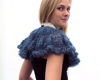 Knitted Mohair Yarn Capelet/Shrug in Blue/Teal