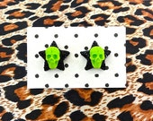 Psycho Lucky Skulls and Stars Earrings - Gorey Green - Psychobilly - Punk - Spooky - Creepy