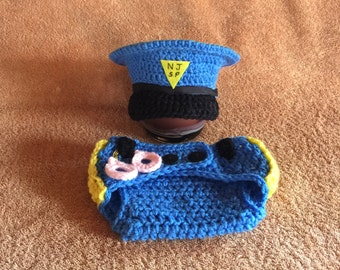 Baby Police - Police Baby Outfit - Police Clothes - Police Officer Baby Hat And Diaper Cover With Handcuffs - Police Costume - Newborn Prop