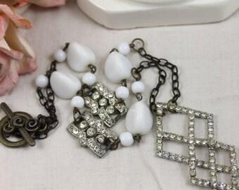 Geometric Rhinestone Necklace with Vintage Milk Glass Beads - Art Deco Links - Brides/Wedding - Vintage Assemblage Jewelry by Boutique Bijou