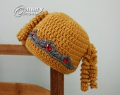 Princess Hat, Princess Crown, Crochet Beanie, Blonde Wig Hat, Halloween Costume, Dress Up Clothing, Girls, Women, Holiday Gift, Winter Hat