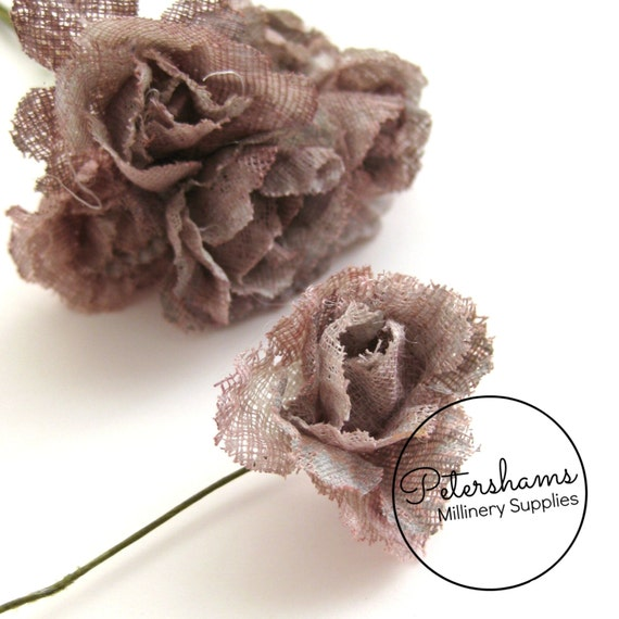 6 small hessian flowers for millinery headress by petershams for How to make hessian flowers