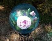 "8"" Light Blue Gazing Ball w/ Handpainted Pink Rose"