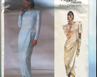 Vogue Designer Original 1884 Vintage Belleville Sassoon Dress or Evening Gown Pattern UNCUT Size 6