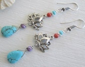 Lotus ~ Turquoise Magnesite earrings with Lotus flower ~ Bohemian style jewelry