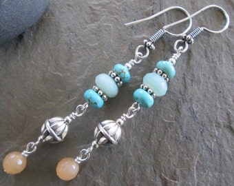 Amazonite, Turquoise & Red Aventurine Earrings - Bohemian style jewelry