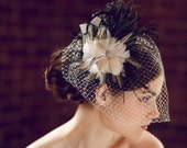 Ashleigh Champagne and Black Bridal Fascinator Hair Clip in Feathers - Big Fascinator