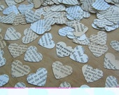 English Paper Hearts - Table Confetti - Old Book Paper  - English Heart Die Cuts - Wedding Table Confetti -  Small Paper Hearts Valentines