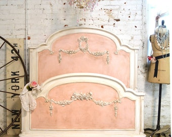 Painted Cottage Pink Romantic French Bed Twin / Full / Double SSBD25