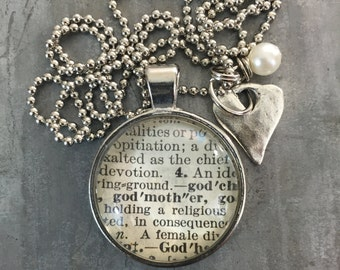 Vintage Dictionary Word Necklace GODMOTHER with charms