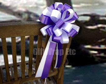 6 White Purple Pull Bows Wedding Party Pew Church Decorations