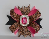 Large Hair bow, Leopard Boutique Bow with Bling Center