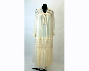 1960s peignoir nightgown and robe sheer chiffon nylon ivory bridal wedding Size M