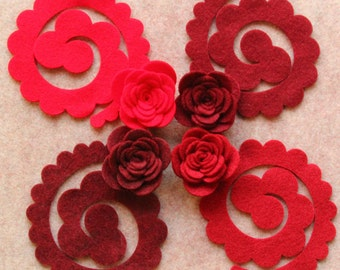 Wild Berries - 3D Rolled Roses Large - 12 Die Cut Felt Flowers - Unassembled Rosettes