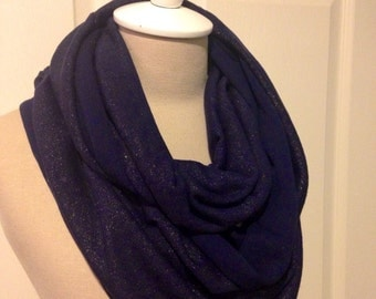 Navy with Gold Knit Infinity Scarf