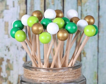 St. Patrick's Day Lollipop Sticks, Cake Pops Sticks, Rock Candy Sticks, Dessert Skewers, Candy Kabob Sticks, Wooden Sticks, Pop Sticks (12)